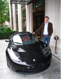 Monty with the new Tesla Roadster