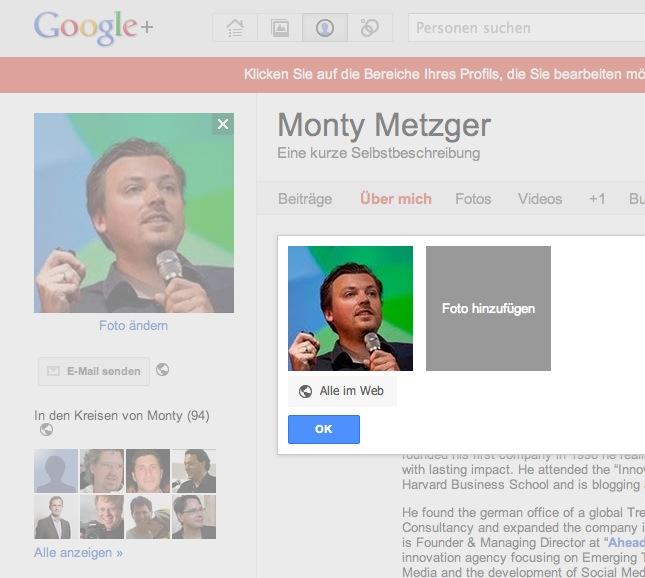 Google Plus Fotos Profil hinzufügen