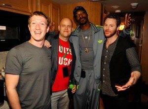 Credit: WireImage, Kevin Mazur – Mark Zuckerberg, Spotify CEO Daniel Ek, Snoop Dogg and Sean Parker