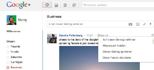 Google Plus Beitrag Ingnorieren